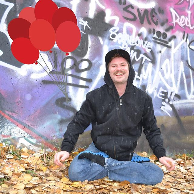 #hbd & #tbt to one of our impromptu graffiti photoshoots! Happy Birthday, Geof! And check out that #lotuspose it's only gotten better since this picture was taken #Byrd #reddeer #bikramyogateacher #birthdayboy