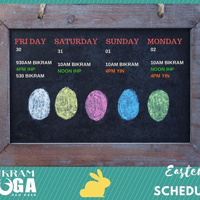 Easter weekend is pretty much here! Reminder to all, here's our schedule for the weekend 🐣 there are a couple of changes, (Monday!) and reductions (Friday & Saturday). Still lots of Bikram, Yin and IHP for all. Remember no 6am tomorrow or Monday! We look forward to seeing your smiling, sweaty faces 💕 #byrd #hotyoga #ihp #reducedschedule #reddeer