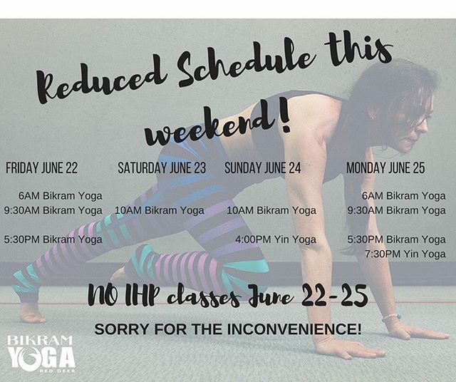 In case you haven't heard we have a reduced schedule for #ihp classes this weekend due to Emily and Breanna being away at the same time! We sincerely apologize for any inconvenience! Bikram and Yin classes still going strong, so be sure to get in for exercise and a good sweat 💦 before hitting the weekend hard! Thank you everyone and see you tomorrow morning or next Tuesday morning for more HIIT training to HOT 🔥 tunes 🎶
