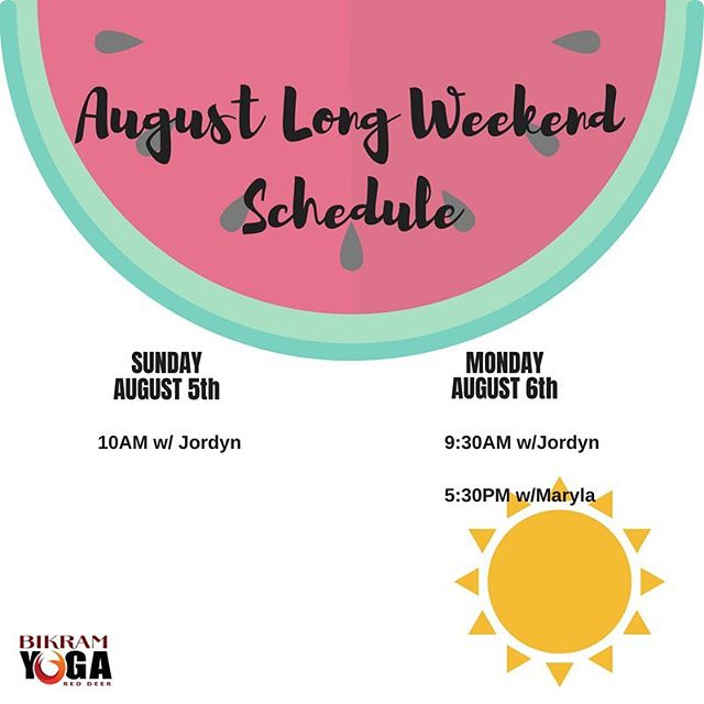 Yoga class times over the long weekend are these! Be safe everyone 😎 #byrd