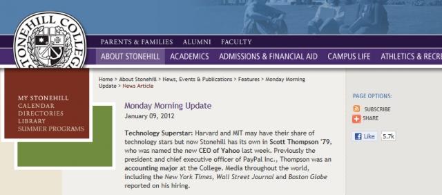 Thompson Yahoo Stonehill Annoucement