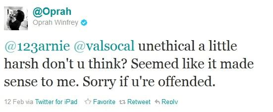 Oprah Tweet response