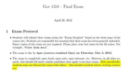 Harvard exam policy