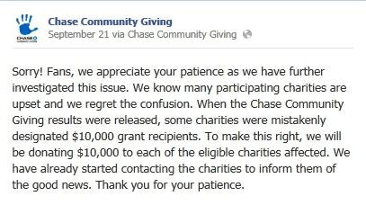 Chase Community FB apology