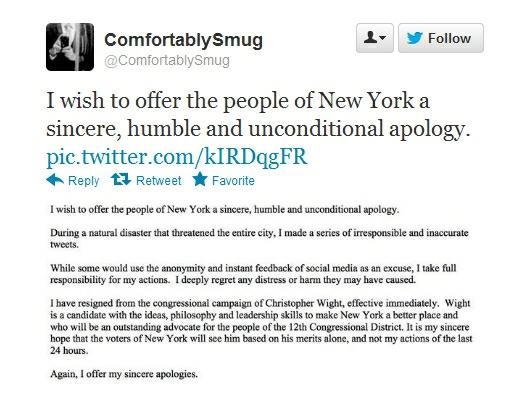 @Comfortablysmug apology