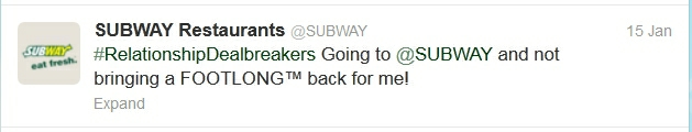 Subway tweet