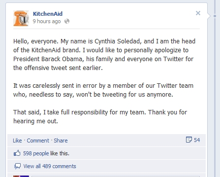Kitchen Aid Apology 2