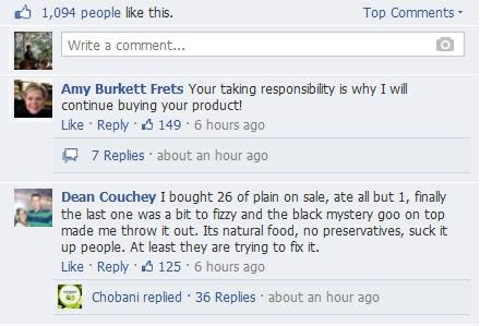 Chobani FB responses