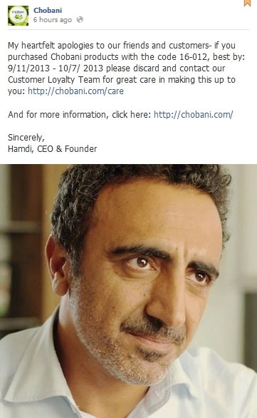 Chobani FB apology