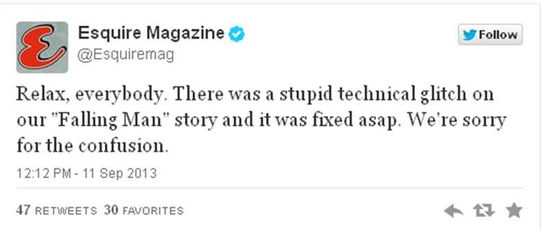 Esquire 911 tweet