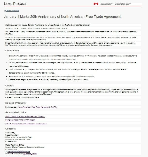 Canada press release