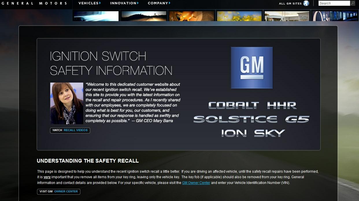 GM recall site