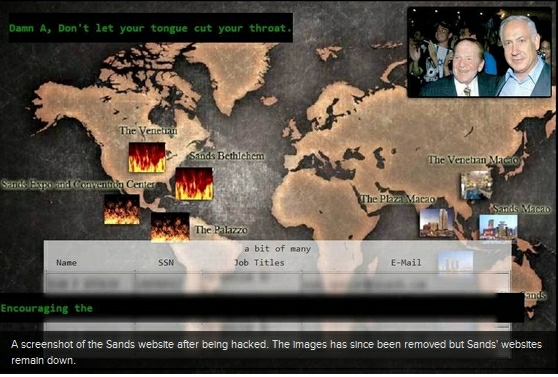 Sands' Hacked Website