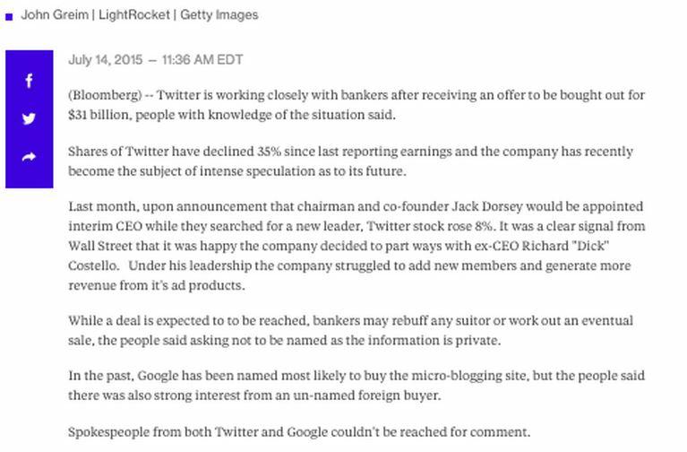 Twitter fake story