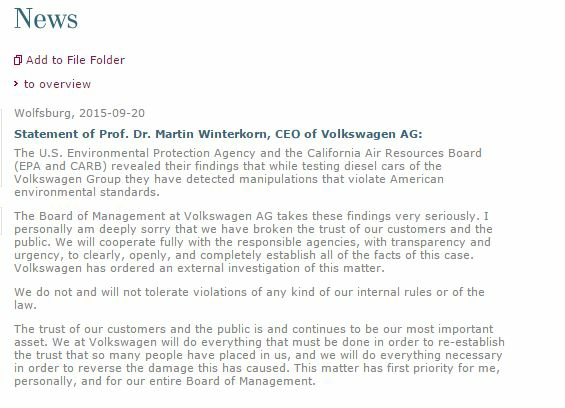 VW statement