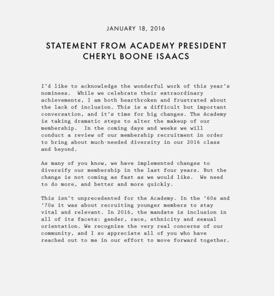 Academy statement