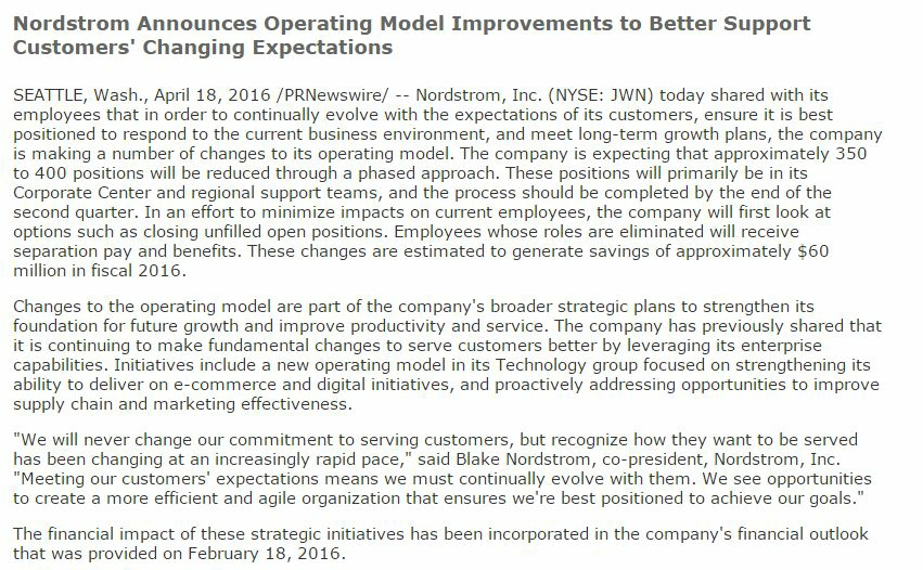 Nordstrom press release