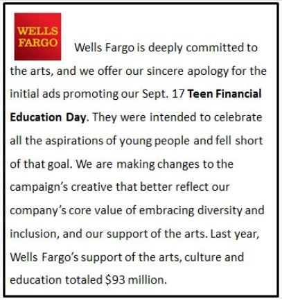 Wells Fargo ad apology