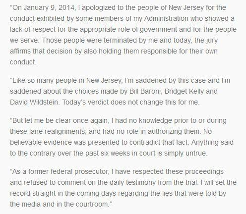 Christie statement