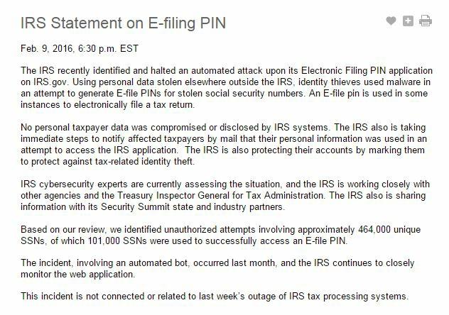 IRS Statement