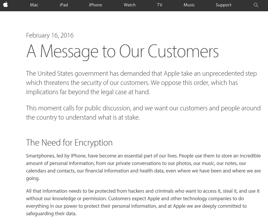 Apple Letter to Customers