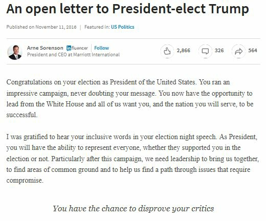 Arne Sorenson Letter to Donald Trump