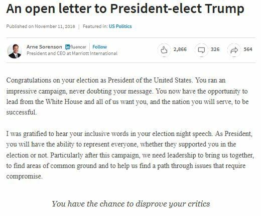 Arne Sorenson Letter to Donald Trump