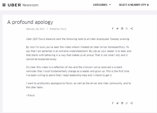 Uber apology
