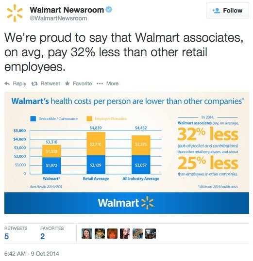 Walmart benefits tweet