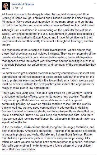 Obama FB Police Shootings