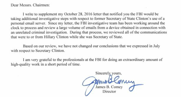 Comey's 2nd letter