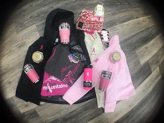 Pink! Pink! Pink! October is breast cancer awareness month💗 Come in and check out our selection of pink items to show your support in style #breastcancerawareness #movemountains #columbiasportswear #yeti #hydroflask