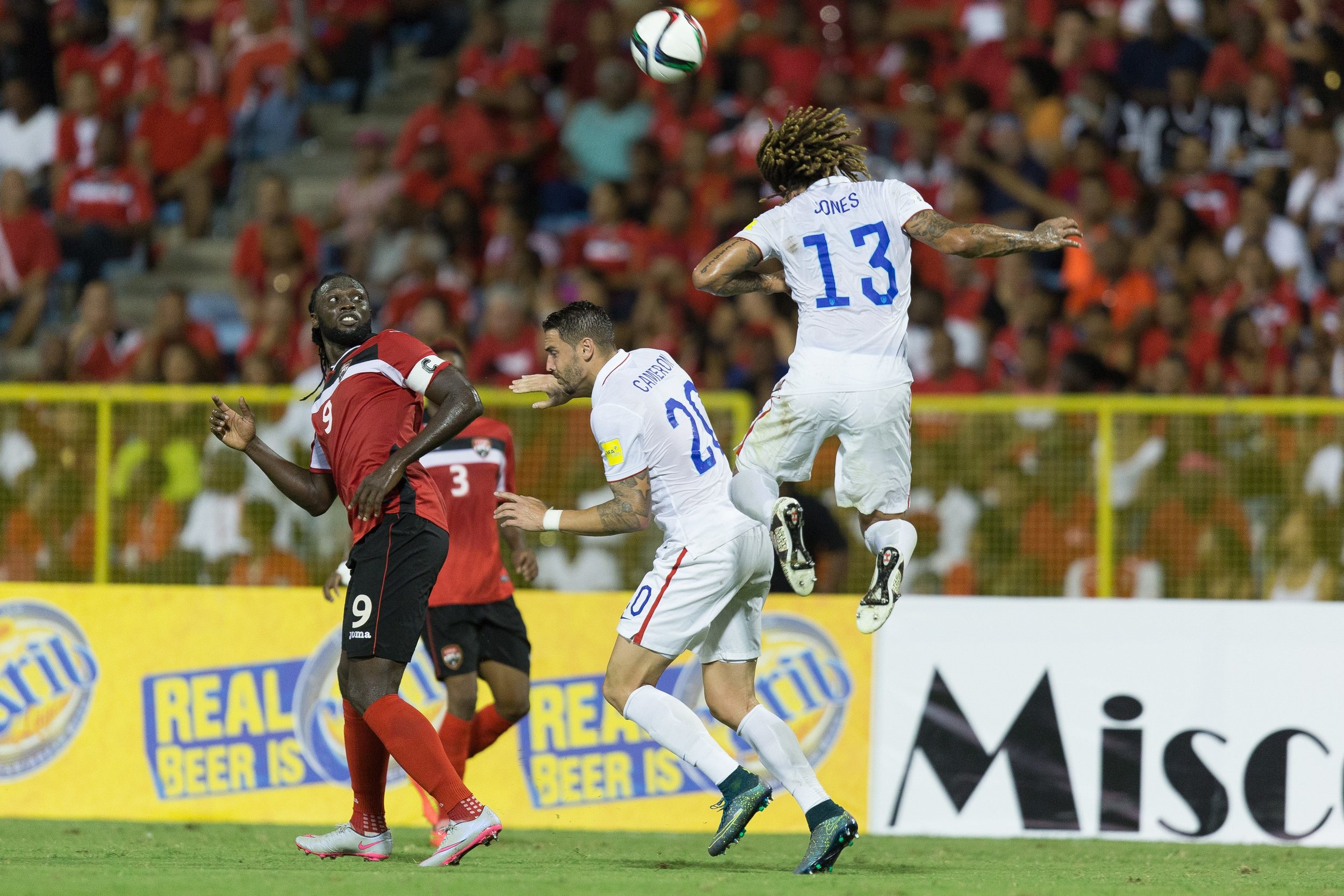 Kenwyne Jones, Geoff Cameron, Jermaine Jones - The U.S. Men's National team drew 0-0 with Trinidad and Tobago in their 2018 FIFA World Cup Qualifying match at Hasely Crawford Stadium. Photographer: John Dorton