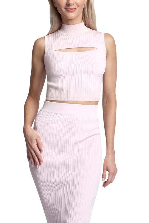 Cushnie Mock Neck Crop Top With Chest Slit / Recleau