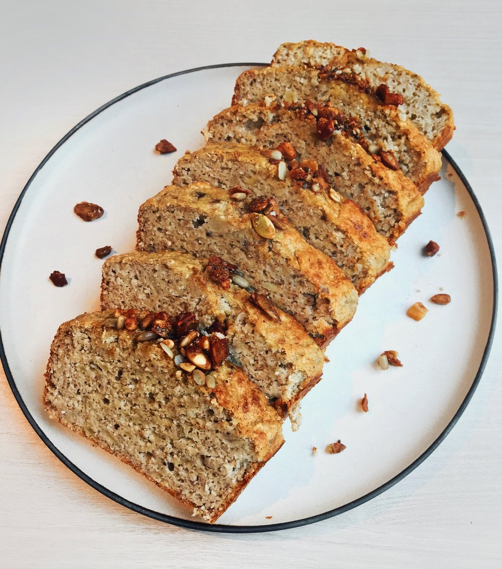 Banana Bread with a Crispy Granola Topping - - 3 medium bananas- 1/4 cup maple syrup- 3 eggs- 1/2 cup almond butter- 1/3 cup coconut flour- 1 tsp cinnamon- 1/2 tsp baking soda.Mash the bananas, mix all the wet ingredients with it, stir well and then add the dry ones. Pour the mixture in a greased baking loaf, sprinkle with @purely_elizabeth granola on top, and bake for about 50min at 350F.