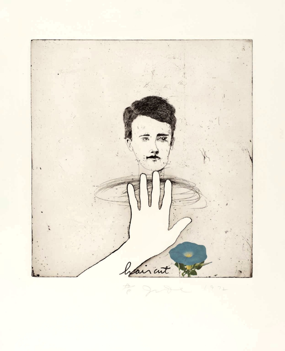 """Jim Dine, BLUE HAIRCUT, 1972 [Williams 151], etching, lithography and block type, 35"""" x 28"""" ed: 75"""