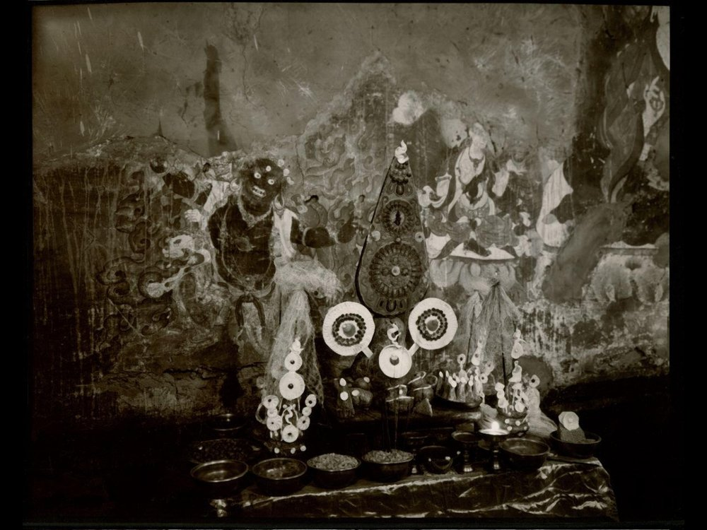 """Linda Connor, OFFERINGS, HEMIS MONESTERY, LADAKH, INDIA, 1998, gold-toned printing out paper, 8"""" x 10"""""""