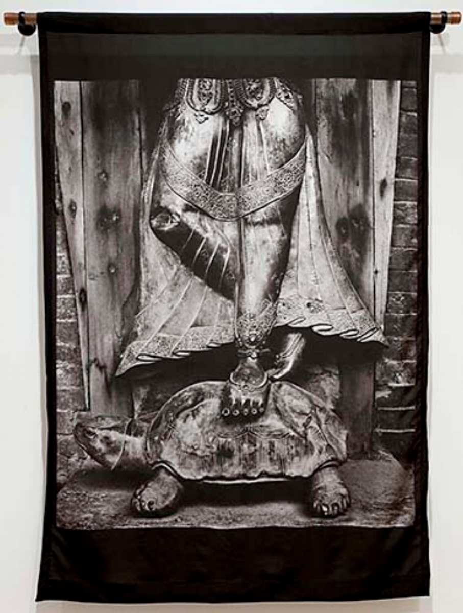 "Linda Connor, GODDESS ON A TURTLE, NEPAL, 1980, archival print on silk banner, 48"" x 55"""