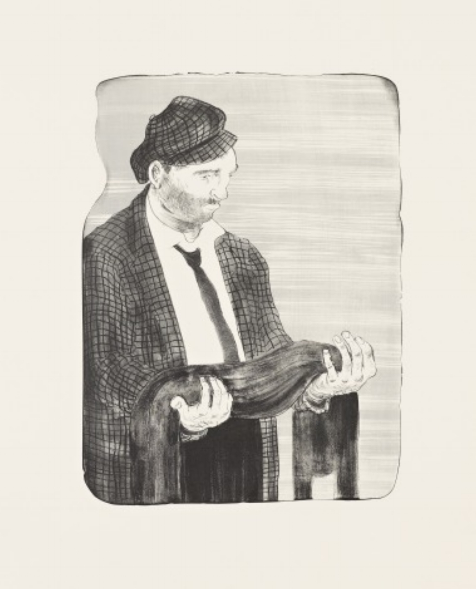 "Nicole Eisenman, MAN HOLDING HIS SHADOW, 2011, lithograph, 22.5"" x 18"" ed: 25"