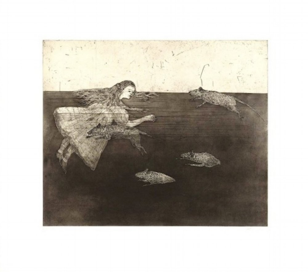 "Kiki Smith, POOL OF TEARS I, 2000, etching and aquatint with chine collé, 22"" x 24.75"" ed: 30"
