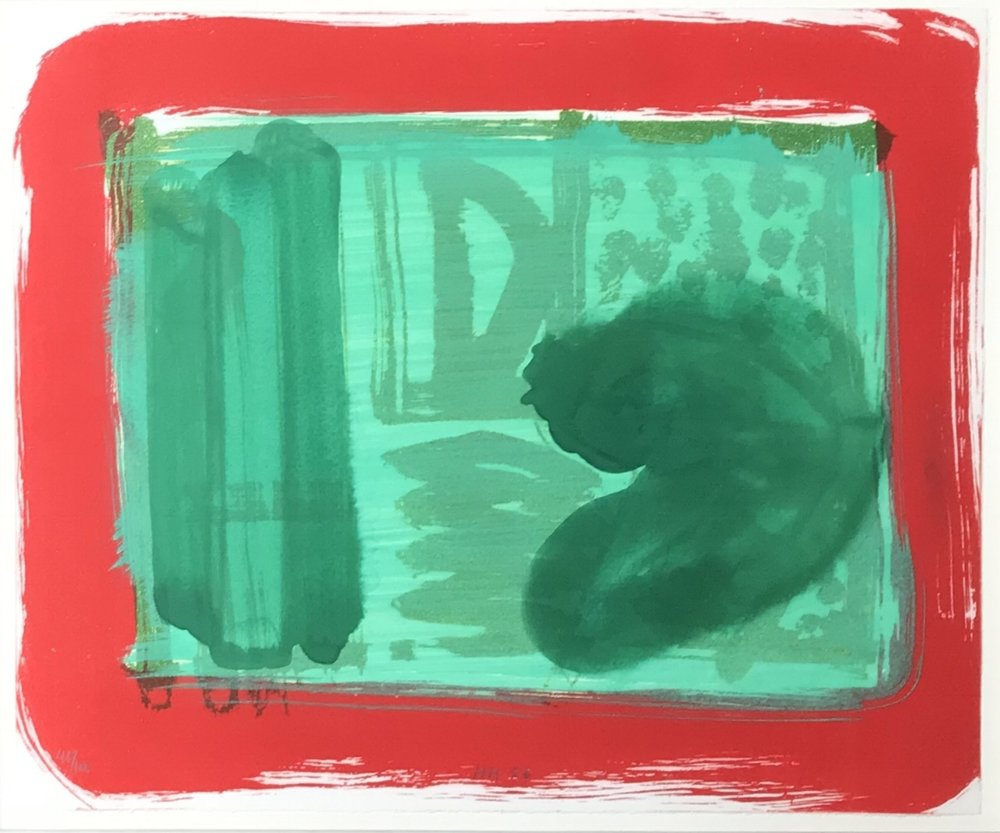 "Howard Hodgkin, GREEN ROOM, 1986, lift-ground etching with hand coloring, 20.25"" x 24"" ed: 100"