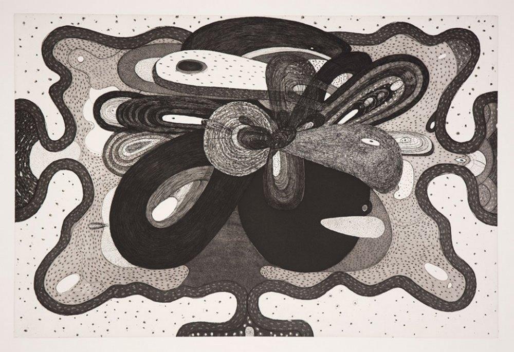 "Richard Hull, WEDNESDAY, 2017, etching and aquatint, 31"" x 42.5"" ed: 15"