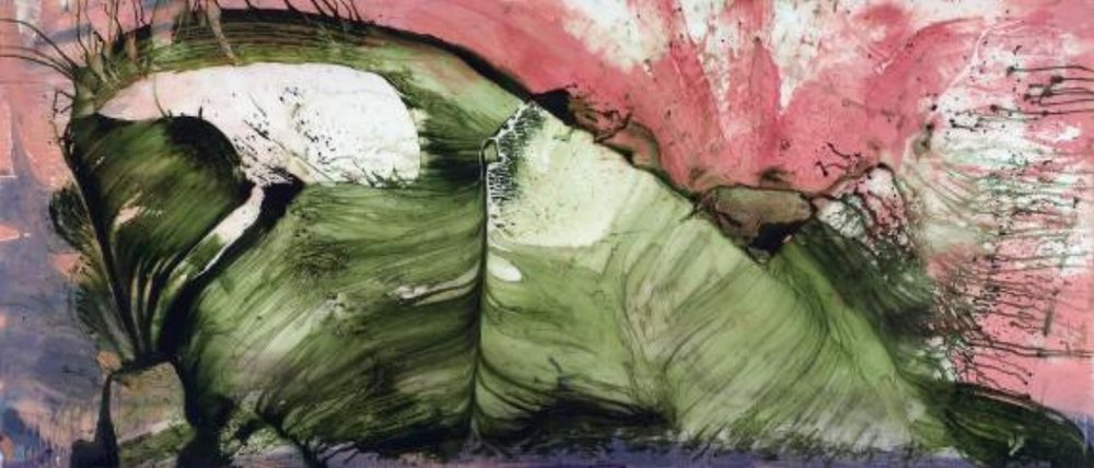 "Jonathan Feldschuh, LARGE HADRON COLLIDER #3, 2007, acrylic and pencil on mylar, 38"" x 84"""