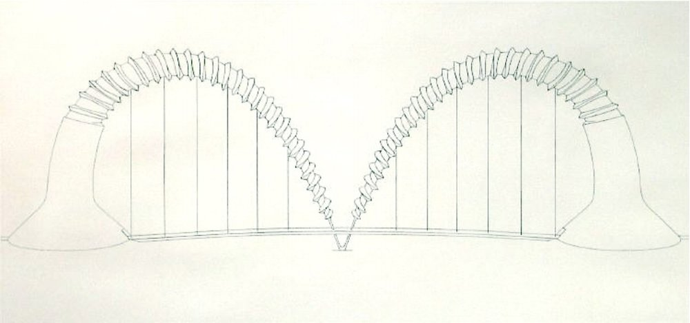 "Claes Oldenburg, DOUBLE SCREWARCH BRIDGE (STATE I), 1980 [Axsom/Platzker 172], etching, 31.25"" x 57.75"" ed: 15"