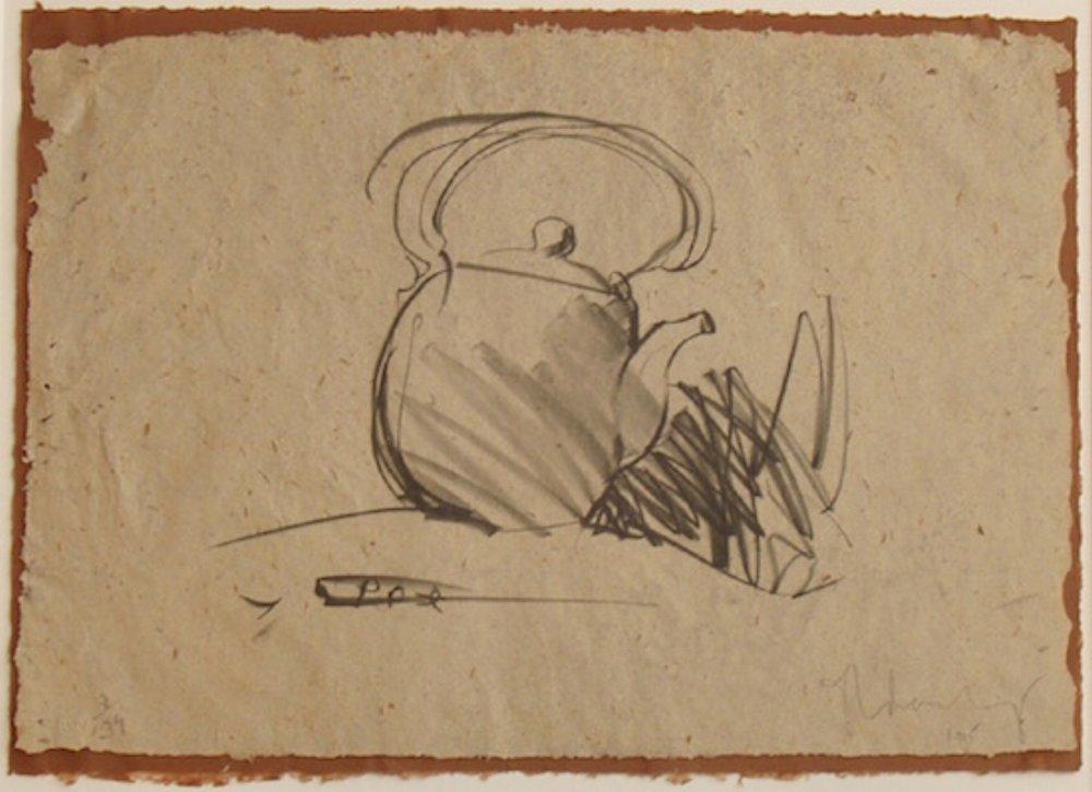 "Claes Oldenburg, TEA POT, 1975 [Axsom/Platzker 129], lithograph on Balinese handmade paper and hinged on Moriki Japnese paper, 18.5"" x 26"" ed: 34"