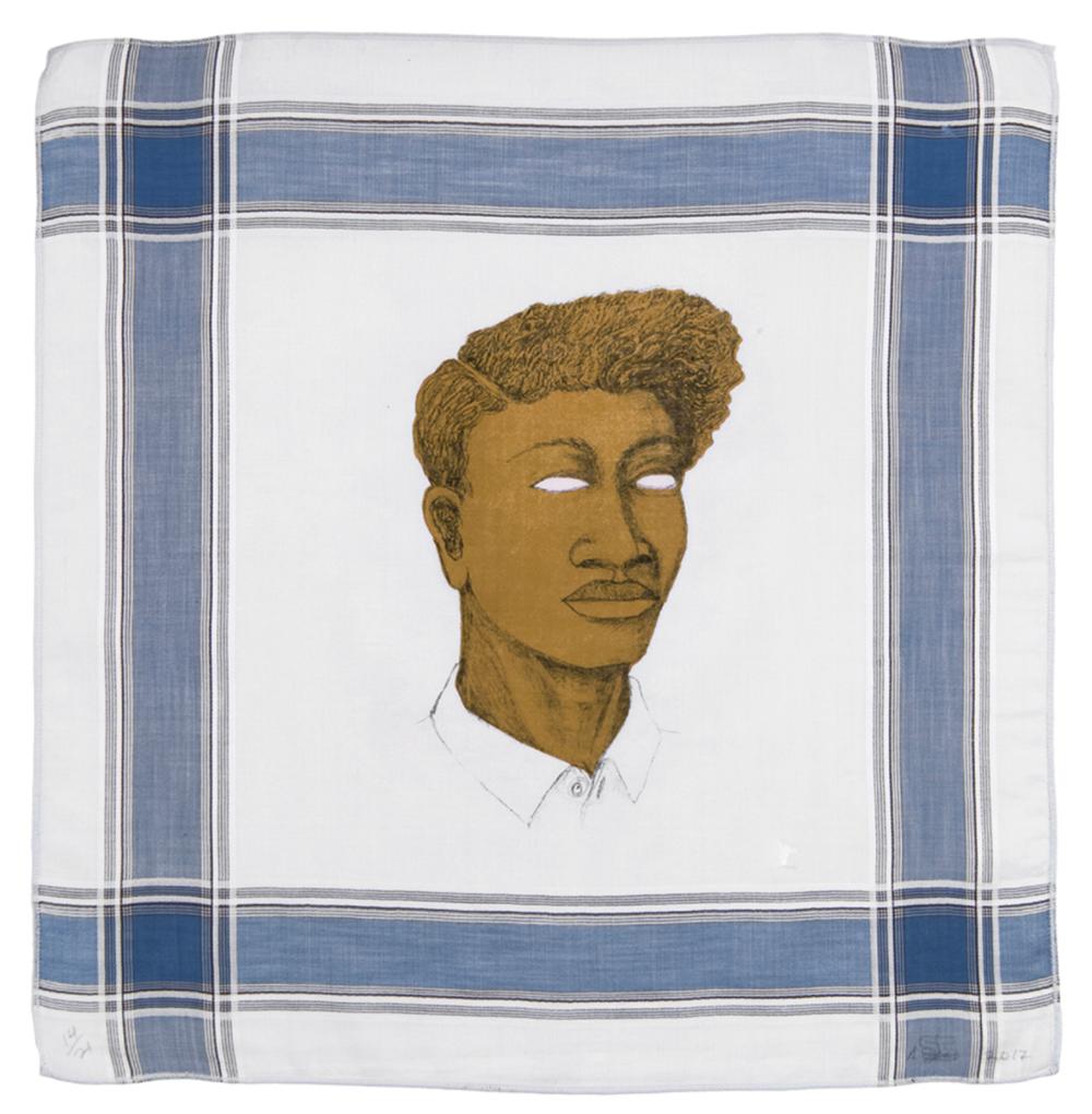 "Alison Saar, REDBONE BLUES 14/21, 2017, intaglio on found vintage handkerchief, 17.5"" x 16.875 ed: varied edition of 21"