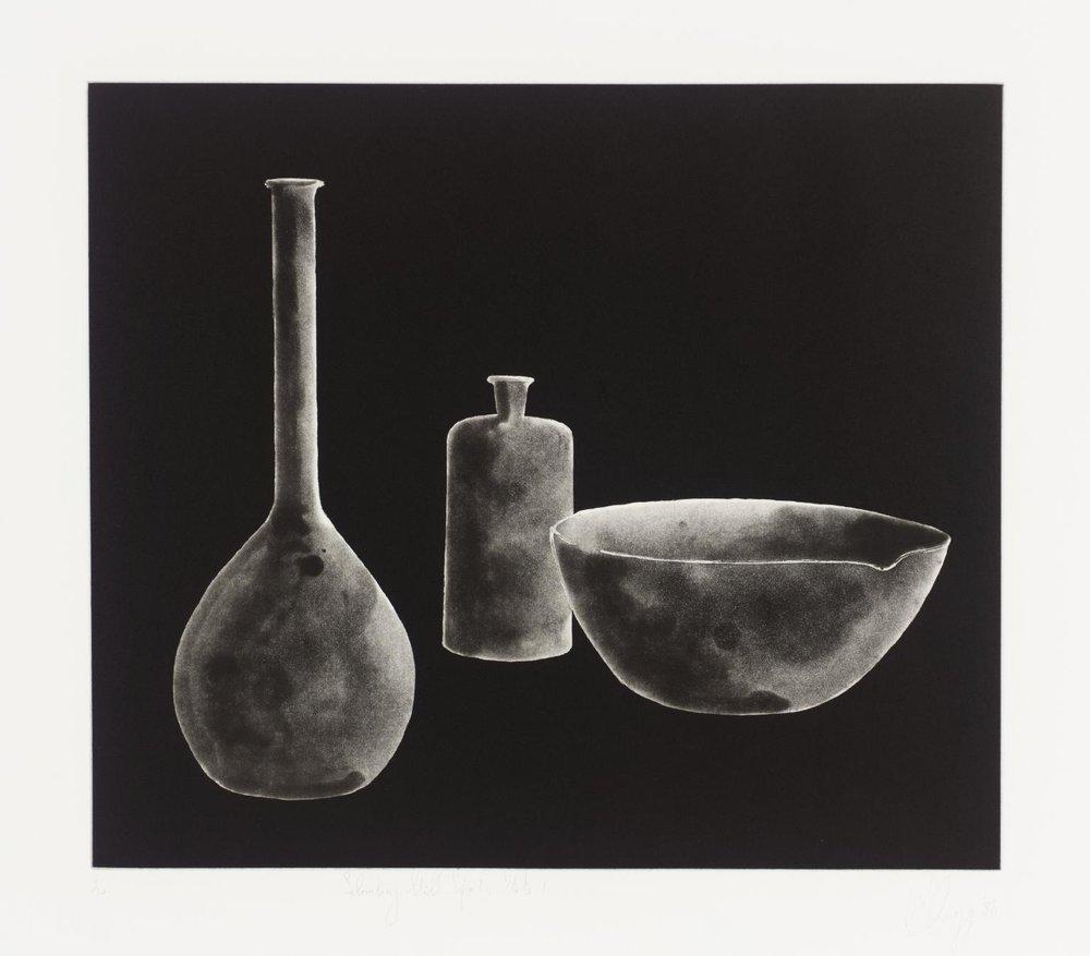 "Tony Cragg, LABORATORY STILL LIFE No. 1, State 2, 1988, etching,   22.75"" x 23.75,"" ed:30"