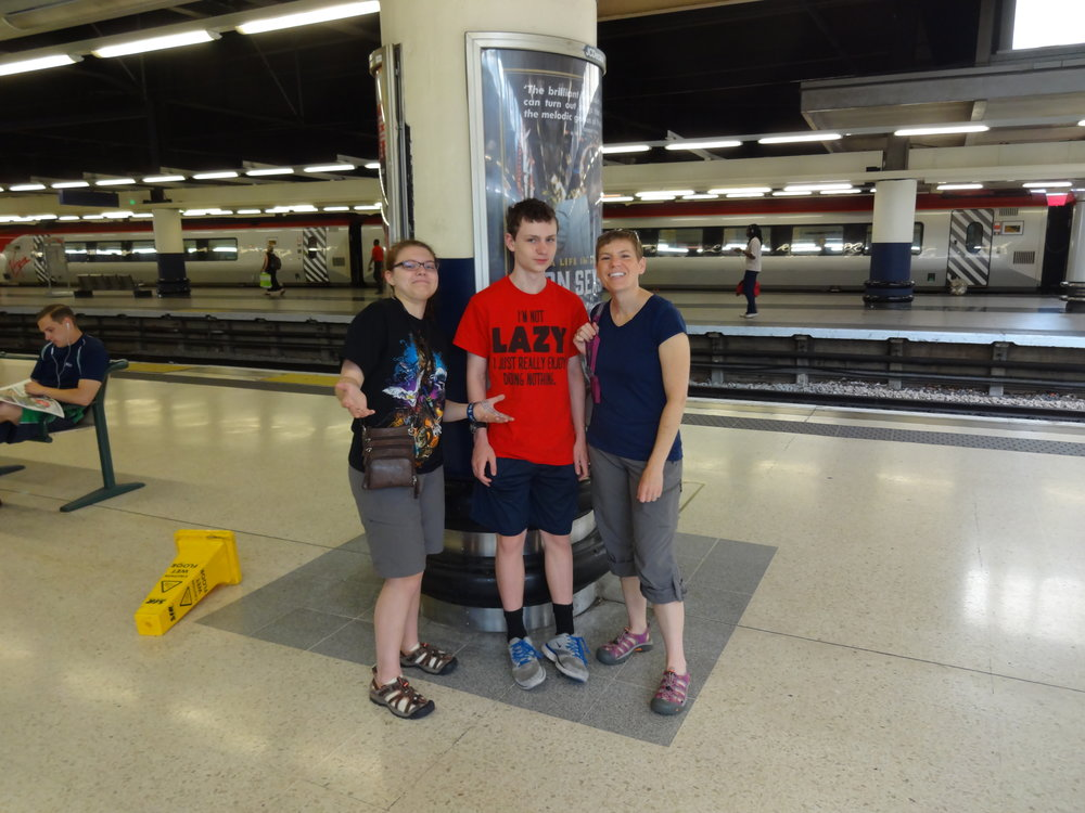 Airport or train station in UK, June 2015
