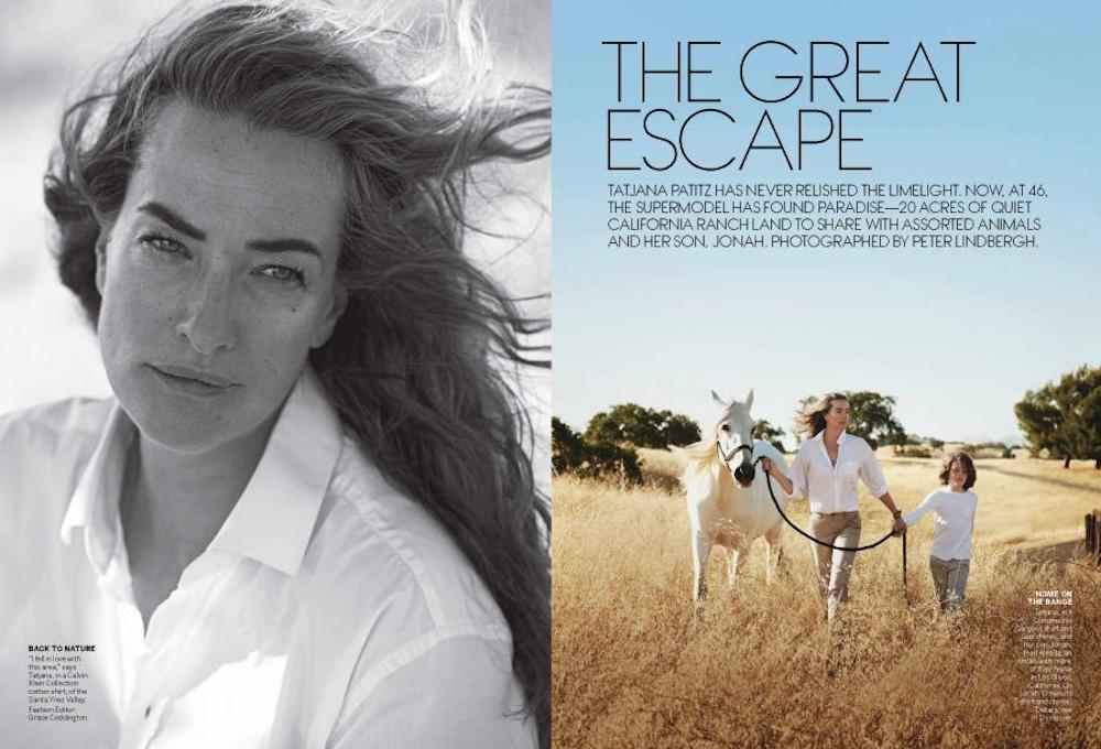 Tatjana Patitz and Jonah. Lensed by Peter Lindbergh for US Vogue.