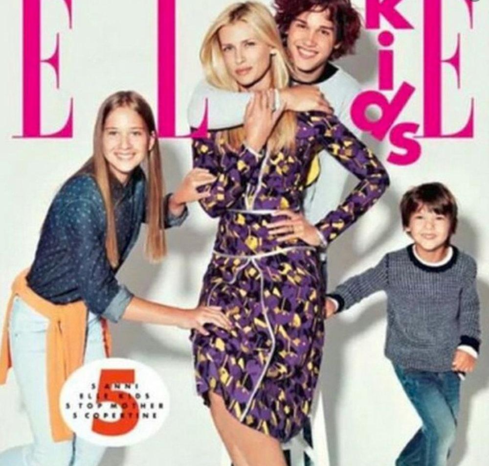 Daniela Pestova and her 3 children on the cover of ELLE Kids, Italy.